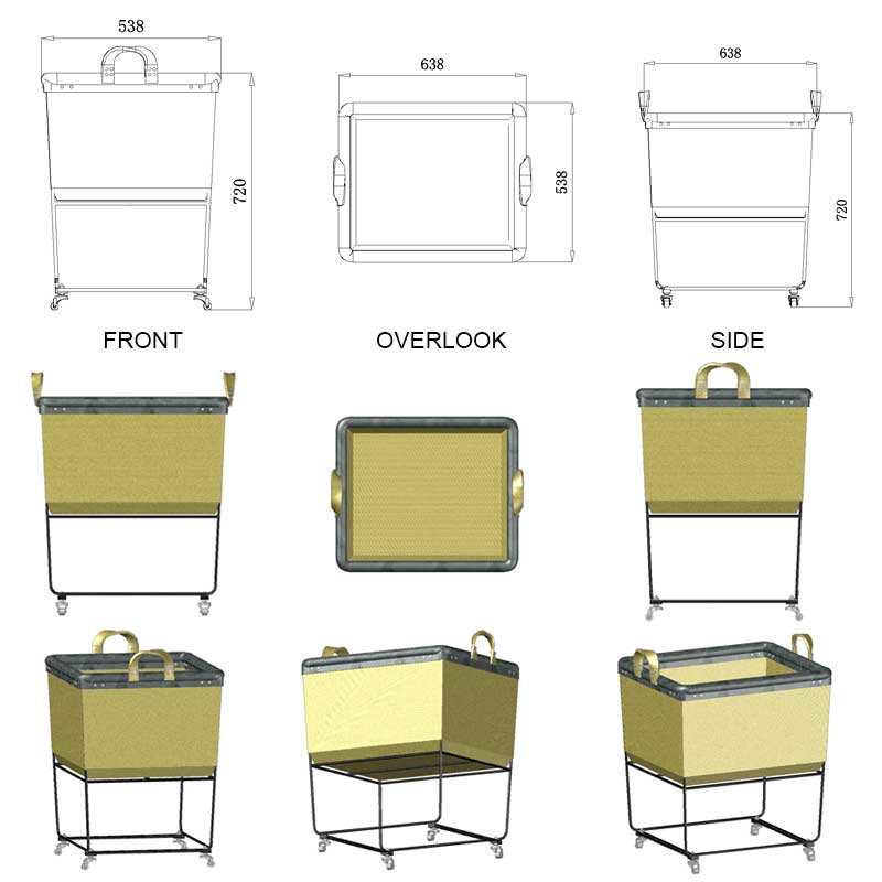 Large-High-Stand-Rectangular-Canvas-Laundry-Cart