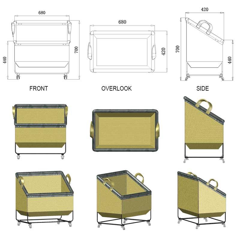 Large-Trapezoidal-Canvas-Laundry-Cart-On-Wheels