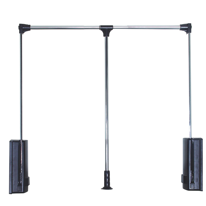 Black Stainless Steel Pull Down Closet Rod With Extra Load