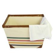 Multicolored Stripe Canvas Laundry Basket