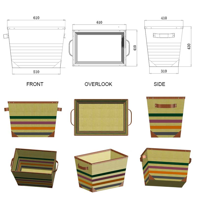 Multicolored-Striped-Canvas-Laundry-Basket