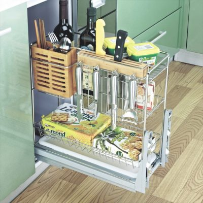 Cutlery Basket,Multi-function Pull-out Kitchen Basket