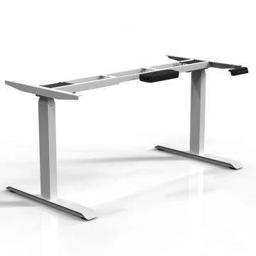 White 3 Stage Standing Desk Frame Side