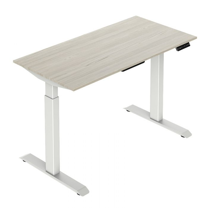 Height Adjustable Desk - Rectangular Tube Legs-White with Top