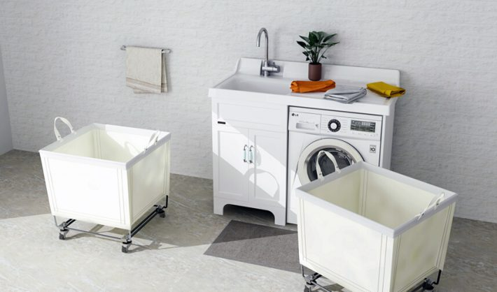 Canvas Laundry Basket with Wheels