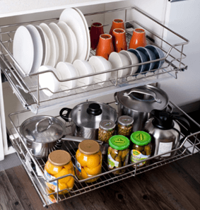 dish pull out basket
