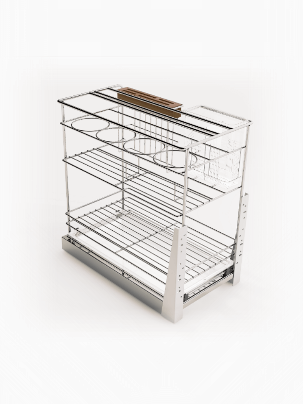 Base Cabinet Pull Out Basket With Knife Holder And Utensil Bin 600800