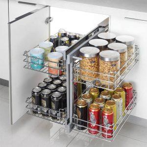 Magic Corner II Blind Corner Slide Out Kitchen Cabinet Organizer Scene 300x300